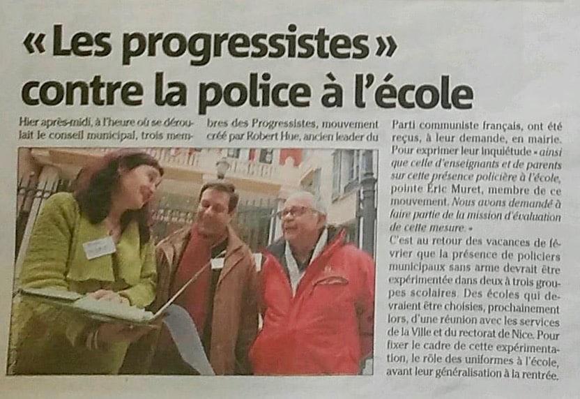 Les progressistes de Nice contre la police à l'école | Mouvement ...